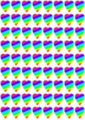 A rainbow colored heart pattern against a white background.