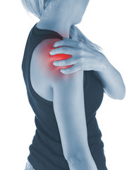 Pain in woman shoulder.