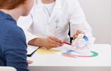 Gynecologist explaining girl menstrual period - 72752373