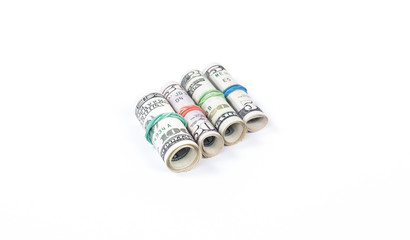 Four rolls of money dollar