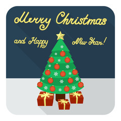 Merry Christmas and Happy New Year flat greeting card