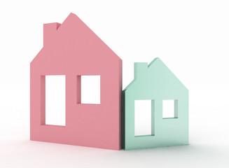 3d two model house symbol set