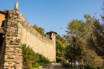 The wall of the Medieval castle in the park, Turin