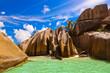 Leinwandbild Motiv Famous beach Source d'Argent at Seychelles