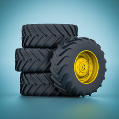 Tractor wheels isolated