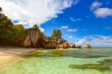 Famous beach Source d'Argent at Seychelles