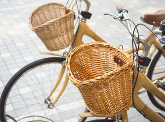 Biycle with basket vintage style object