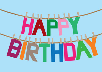 Happy Birthday greeting message hanging on clothesline