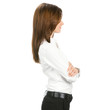 Profile view of young business woman, on white