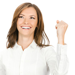 Happy gesturing businesswoman , on white