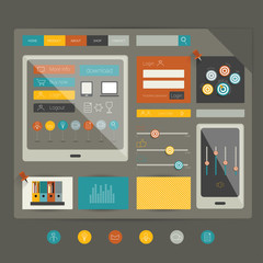 Flat web page elements. Vector components.