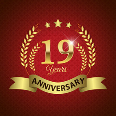 Celebrating 19 Years Anniversary, Golden Laurel Wreath & Ribbon