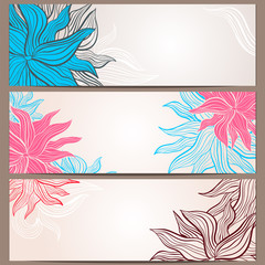 Set of three floral banners