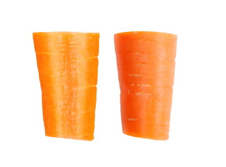 fresh carrot slice isolated on a white background