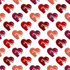 Seamless background with brush strokes hearts