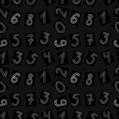 Seamless pattern of painted white digits