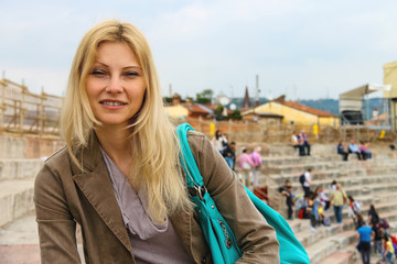 Attractive girl inside the Arena of Verona - the place of annual