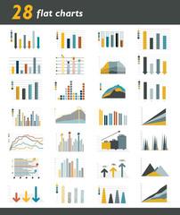 Set of 28 flat charts, diagrams for infographic.