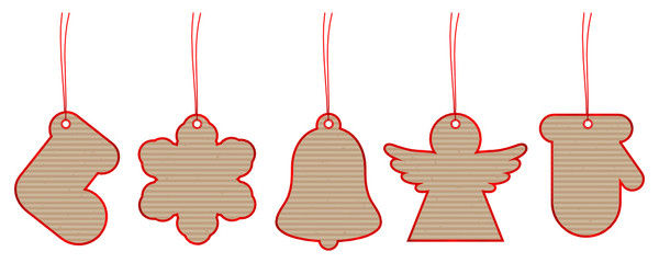 New Set 5 Christmas Hangtags Brown Paper Red