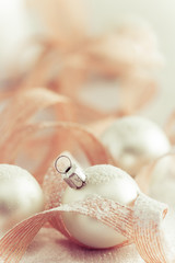 Christmas ornaments with snow