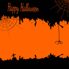 Halloween postcard with cobwebs and a spider