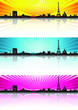 Color background Paris Skyline Silhouette