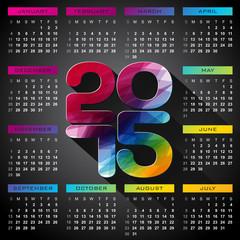 Vector Calendar 2015 illustration with long shadow.