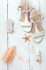 Summer women's accessories - sandals, bath salt, pumice stone
