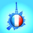 Paris Skyline Flag Globe Silhouette
