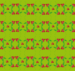 Berry pattern on a green background