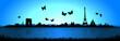 Blue Background Butterfly Paris Skyline Silhouette