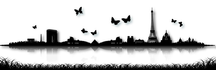 Black and White Paris Skyline Silhouette Butterfly