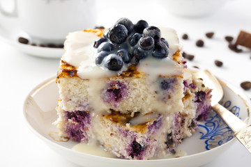 Casserole of cheese and couscous with blueberries