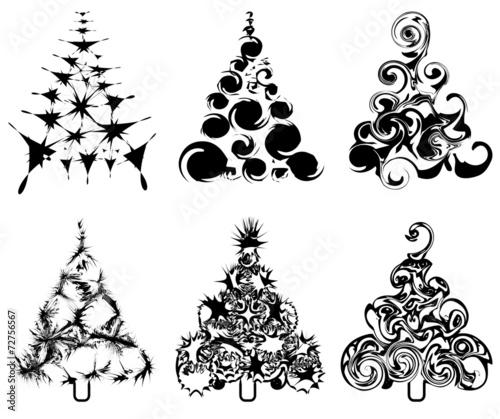Gamesageddon Abstrakte Weihnachtsbäume Tannenbaum Schwarzweiß