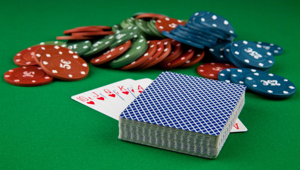 playing-cards and chips
