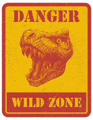 warning sign. danger signal with dinosaur. eps 8