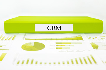CRM customer relationship management concept with graphs and bus