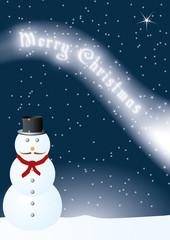 Carte Merry Christmas sous la neige