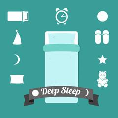 Set of icons on a theme of deep sleep