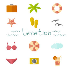 Icons vacation in a flat minimalist style