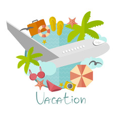 Illustration on vacation in a flat minimalist style