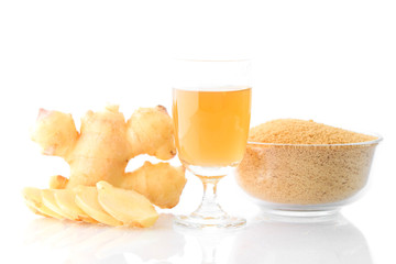 Ginger tea isolated on white