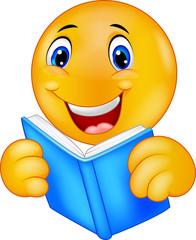 Happy smiley emoticon reading book