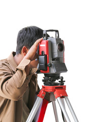 Surveying measuring equipment level theodolite on tripod at cons
