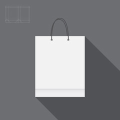 White paper bag for shopping cutting