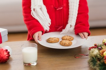 Festive little boy holding plate of cookies