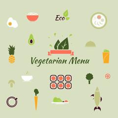 Vegetarian menu icons.