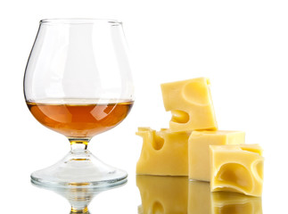 glass of cognac and cheese