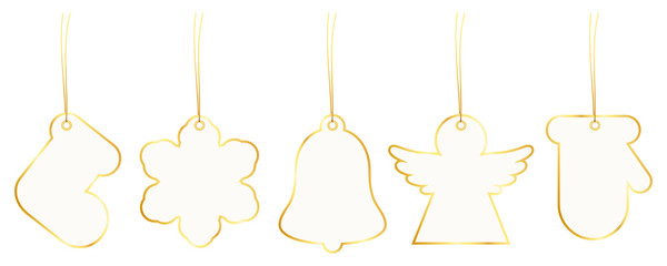 New Set 5 Christmas Hangtags Paper Gold