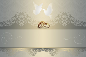 Wedding invitation. Background with white doves and gold rings.